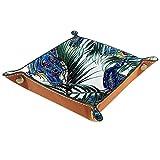 rogueDIV Bandeja plegable de cuero de la PU para el reloj de la joyería de almacenamiento del sostenedor del caso del pavo real tropical palmas hojas hermosas 6.2 x 6.2 pulgadas