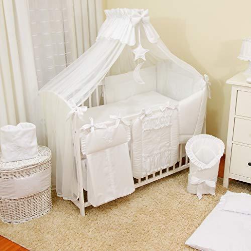 Bello 16tlg. Baby Bettwäsche-Set | Betthimmel für Babybett | Babybett Nestchen| Babybett Komplett Kinderbettwäsche-Set | Babybettwäsche (70x140 cm, Weiß)