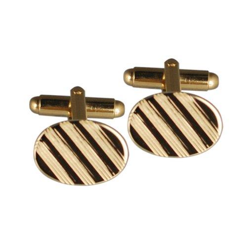 British Jewellery Workshops Boutons de Manchette plaqué Or Dur pivotantes Ovale bordée de 12x17mm