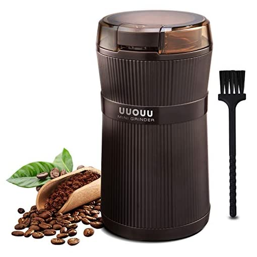Coffee Grinder with Brush, UUOUU 200W Washable Bowl Spice Grinder with Stainless Steel Blade for Seed Bean Nut Herb…