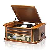 MUSITREND Nostalgie Musikanlage mit Plattenspieler, Retro Stereo Kompaktanlage mit AM/FM Radio, Bluetooth CD Player USB Kassette Fernbedienung, aus 100% Natürlichem Holz
