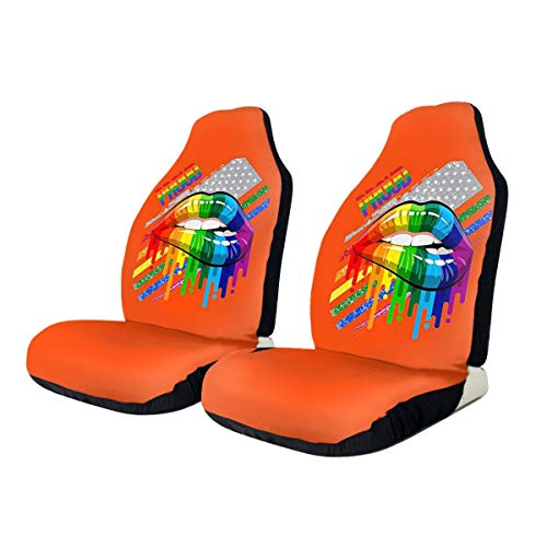 KAIYANJIXIE Lesbian Rainbow Lips Pride Pattern Car Seat Cover Protector Cushion Premium Covers Fits Most Cars, Truck, SUV Or Van