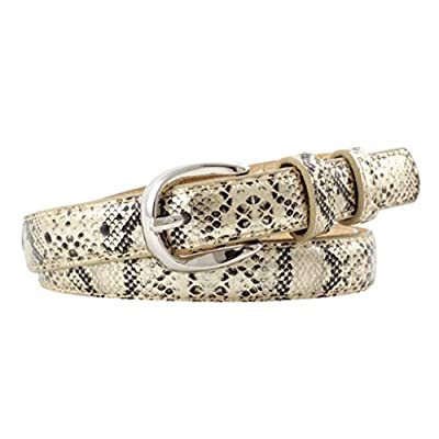 Snake Print Belt Skinny Snakeskin Embossed Leather Casual Dress Belt with Buckle for Jeans/Dress