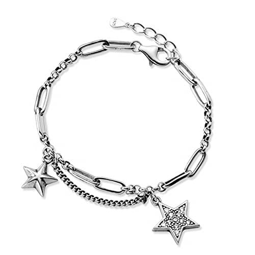 Cadena de costura retro pulsera de estrella doble estrella de cinco puntas pulsera de diamantes joyería de personalidad femenina Aniversario de bodas día de la madre regalo de cumpleaños de navidad