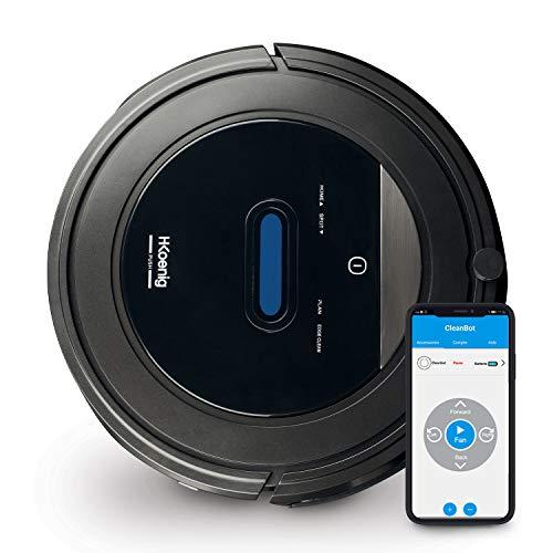 H.Koenig SWRC110 Aspirapolvere Robot Watermop Wifi+ con App, 4 Cicli Programmati, Intelligente, Autonomo, Potente, Nero