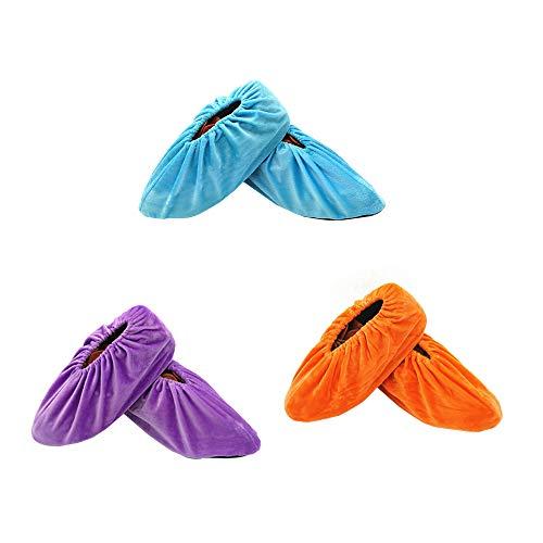 SENDILI Schuhüberzieher - 3 Paar Flanell Anti-Rutsch Sohle Schuh Bedeckung Staubfrei Überschuhe für Haushalt Wiederverwendbar Waschbare, himmelblau + orange + lila / 3 Paare, One Size