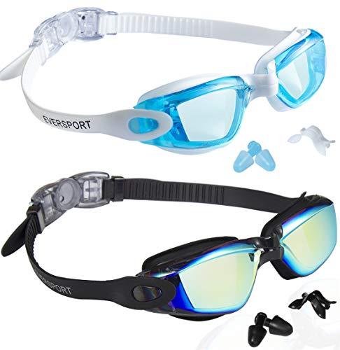EverSport Swim Goggles, Swimming Glasses for Adult Men Women Youth Kids Child, Anti-Fog, UV Protection, LightBlue&Colored Black