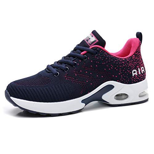 AFFINEST Damen Laufschuhe Air Stoßfest Turnschuhe rutschfest Schnürer Atmungsaktiv Leichte Sportschuhe Outdoor Mesh Sneaker für Jogging Laufen blau 38