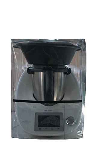 Ma Belle Housse - Housse De Protection Pour Thermomix Tm5/Tm31/TM6 Transparente Avec Varoma Biais Noir