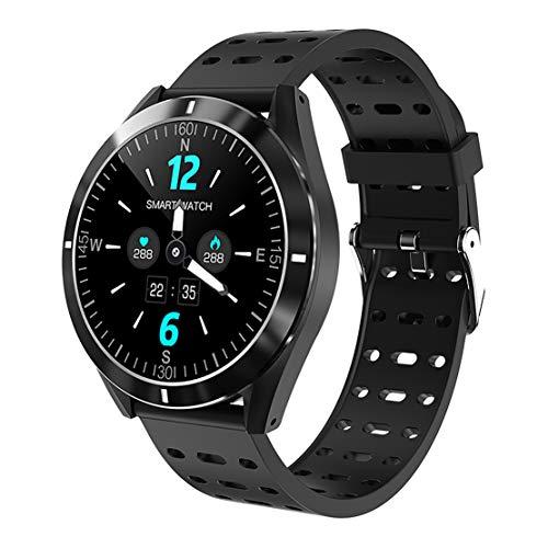 ASDSDF Smart Watch, Tracker di attività, Sport cardiofrequenzimetro Bluetooth Orologio Impermeabile, funzioni Multiple-Black