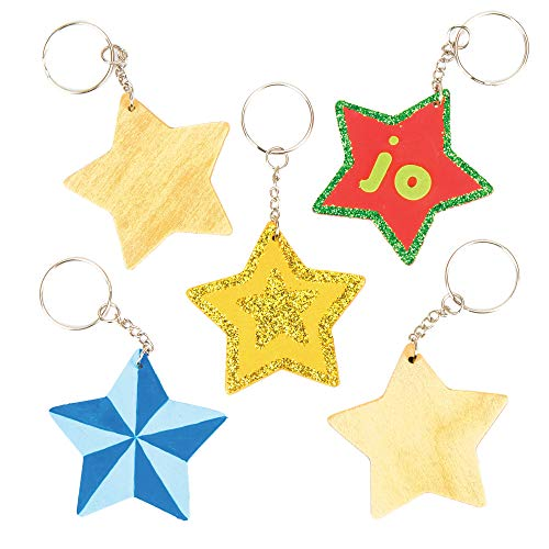 Baker Ross Llaveros de madera en forma de estrella, perfectos para decoraciones y manualidades infantiles (pack de 8).