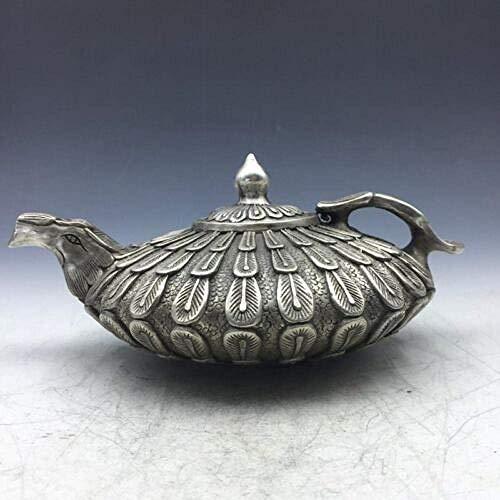 Equipo de Vida Estatuas y estatuillas Adornos Antiguo Cobre de Plata Tibetano Tallado a Mano Flor de cuproníquel Fénix Tetera Olla de Vino