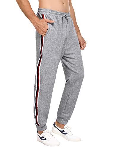 Hawiton Pantalon de Sport Homme Longue Bas de Survêtement Coton Jogging Décontracté Sweatpants Rayé,Grande Taille* Gris,L