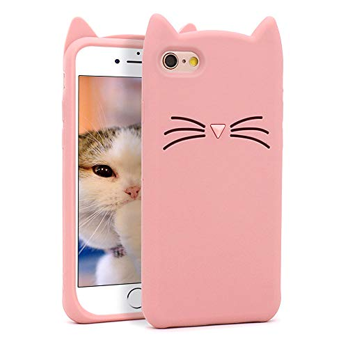 Yonocosta iPhone 6 Case, iPhone 6S Case, Funny Cute 3D Cartoon Animals Pink Whisker Cat Ears Kitty Soft Silicone Shockproof Case Cover for iPhone 6 / iPhone 6 (4.7' Inch)