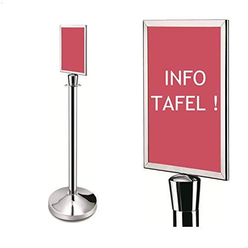 DISPLAY SALES Infost/änder Teleskop doppelseitig DIN A4 silber h/öhenverstellbar aus Aluminium Hoch und Querformat Einsatz mit Einschubrahmen schwere Stahlfu/ßplatte