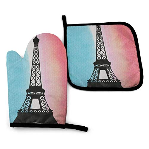 FHTDH Suministros de Cocina, Guantes de Horno y Juegos de ollas Eiffel Tower Oven Mitts and Pot Holders,Resistant Hot Pads with Polyester Non-Slip BBQ Gloves for Kitchen,Cooking,Baking,Grilling