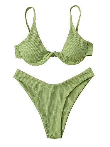 Verdusa Women's 2 Piece Triangle Bikini High Cut Bathing Suit Swimwear Green S