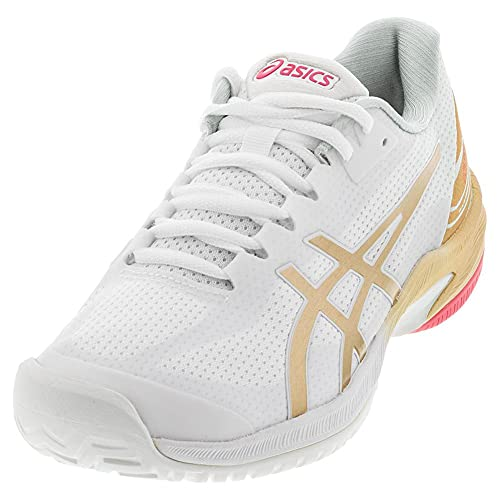 ASICS Women's Court Speed FF L.E. Tennis Shoes, 6M, White/Champagne