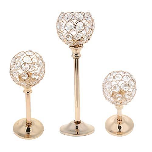 Candelabros Cristal de Mosaico Soporte de Velas Lámpara de Mesa Decoración para Hogar, 3 Tamaños - Dorado