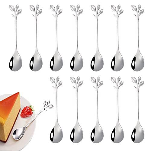 12 pezzi di cucchiaino da caffè in foglia di acciaio inossidabile, mini cucchiaio da caffè con design a ramo cucchiaio da dessert, usato per acqua tè latte caffè dessert bevande utensili (argento)