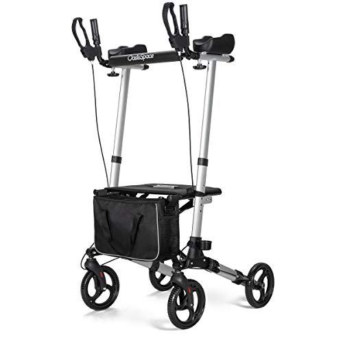 OasisSpace Narrow Lightweight Upright Walker, Stand Up Rollator Walker with Arm Rests Support Up to 300lbs (Silver)