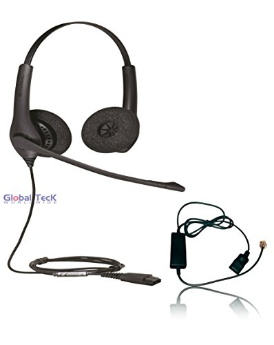 Jabra Biz 1525 Headset Bundle | Headset, Telephone Interface - RJ9 Phones, VoIP, IP, Digital: Cisco, Mitel, ShoreTel, Aastra, Toshiba, Nortel, Yealink (1525 Binaural Bundle)