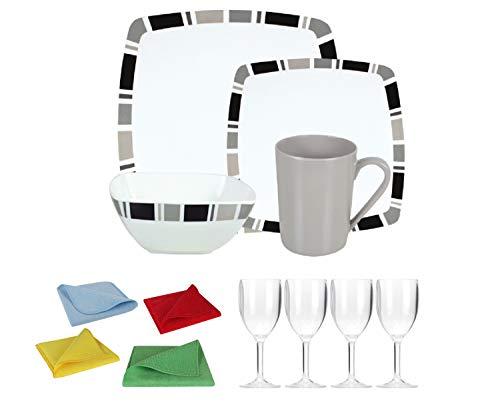 Moritz Ensemble vaisselle de camping en mélamine 4 personnes Design Carre + 4 verres à vin Transparent + 1 chiffon microfibre 4 couleurs
