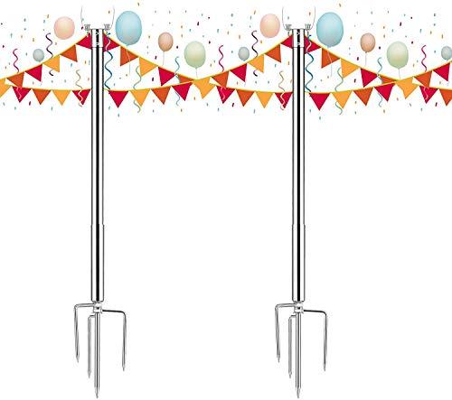 S SMAUTOP Brillihood Outside String Light Pole, Sturdy 4 Prong Fork Pole Stand, LED Solar Hanging Bulbs Used for Patio, Backyard, Courtyard Garden, Chrismas, Café Wedding Light Décor, (2-Pack)