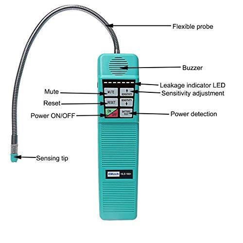 Elitech HLD-100+ Détecteur de Fuite d'Halogène, Réfrigérant AC Halogène, Détecteur Portable avec Haute Sensibilité pour Utilisation à Domicile