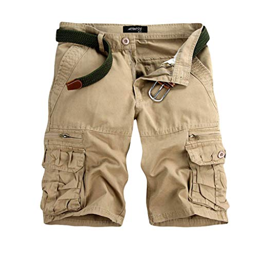GreatestPAK Pants Pure Color Shorts Herren Outdoor Taschen Strand Arbeit Hosen Cargo Pant,33(L),Beige
