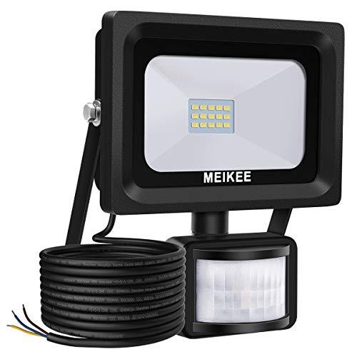 Foco led exterior con Sensor Movimiento de alto brillo 1000lm, 10W, MEIKEE Proyector led exterior de impermeable IP66, Iluminación led de seguridad, luz led para patio, jardín, camino