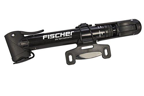 FISCHER Fahrrad Mini-Pumpe | T-Griff | hohe Pumpleistung | mit Doppelkopf | Schnellverschluss | inkl. Rahmenhalter | schwarz
