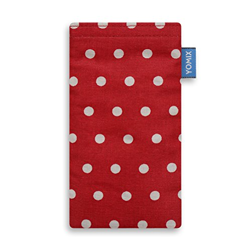 YOMIX Handytasche Gunilla rot mit Strahlenschutz für ZTE Blade C341 aus beschichteter Baumwolle mit genialer Bildschirm-Reinigungsfunktion durch Microfaserinnenfutter