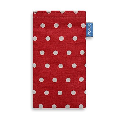 YOMIX Handytasche Gunilla rot mit Strahlenschutz für HTC One Mini 2 aus beschichteter Baumwolle mit genialer Display-Reinigungsfunktion durch Microfaserinnenfutter