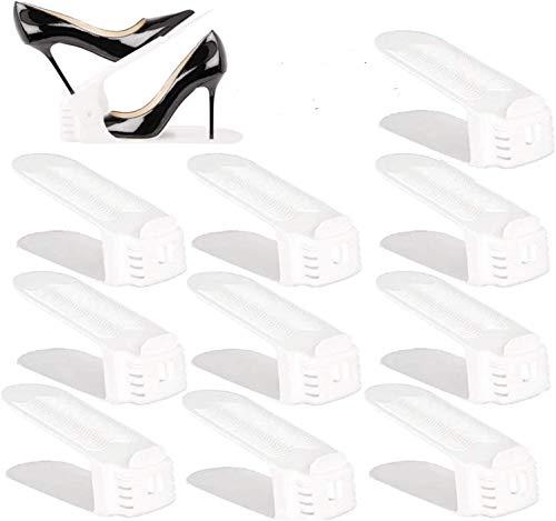 BIGLUFU Adjustable Shoe Slots Organizer Shoe Racks Space Saver Shoe Holder Rack White… (10pack)