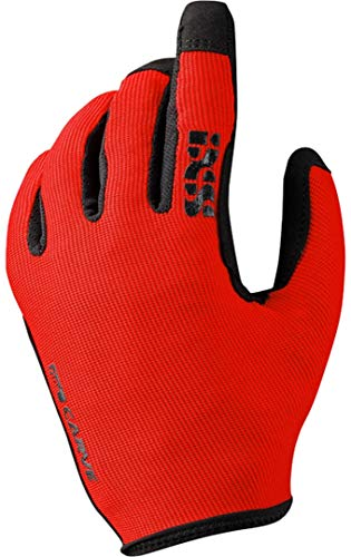 iXS Unisex Ergonomic Preformed Slip-On Touch-Screen Carve Motorcycle Gloves, Fluo Red, Large