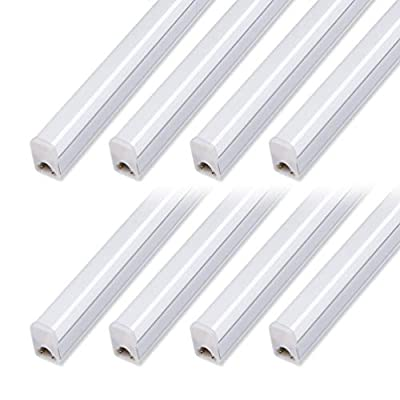 (Pack of 8) LED T5 Integrated Fixture 4FT, 20W, 2200lm, 6500K (Super Bright White),Utility led Shop Light, LED Ceiling Light and Under Cabinet Light, Corded Electric with Built-in ON/Off Switch