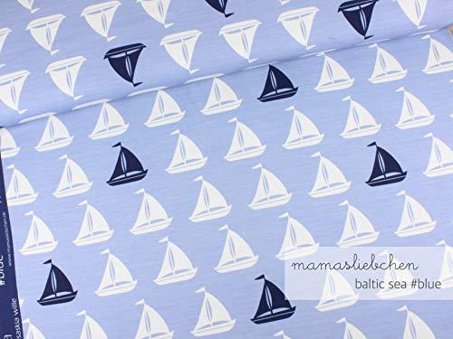 Mamasliebchen Jersey-Stoff Baltic sea #Blue (0,5m) Boote Schiff maritim Meterware