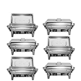 CO-Z 6 Pack Chafer Chafing Dish Set 9L/8Q High-Grade Stainless Steel Pans Catering Full Size, complete Chaffing Dishes Set, Silver