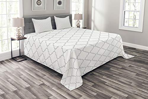 ABAKUHAUS Grau Tagesdecke Set, Monochrome-Damast-Muster, Set mit Kissenbezügen Kein verblassen, für Doppelbetten 264 x 220 cm, Weiß Grau