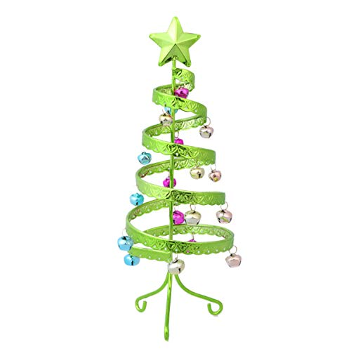Amosfun Tabletop Mini Metal Christmas Tree with Bell Star Tree Topper Spiral Ornaments for Xmas Holiday Party Table Decoration Green