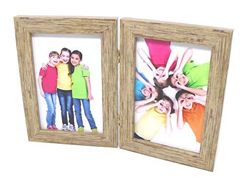 Clay Roberts Marco de Fotos Doble 10x15, Ceniza, Contiene 2 Fotos, Independiente con Vidrio Real