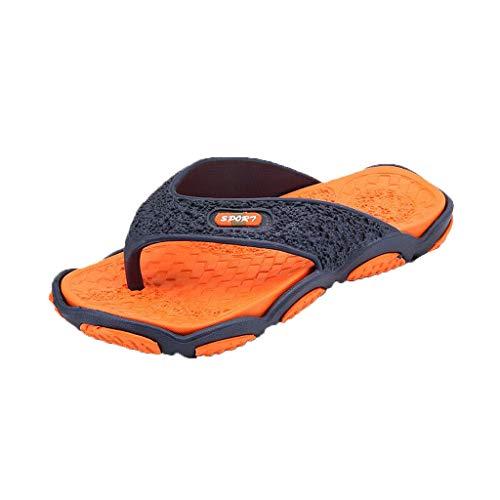 Herren Zehentrenner Badeschuhe Slippers Beach Strandsandale Mode Flip Flops Surfen Pool Sandalen Pantoletten Leicht Freizeit Bequem rutschfest Sommer(1-Orange/Orange,39)