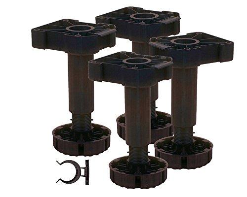 4 er Set Sockelhöhenversteller 200 mm zum Anschrauben incl. Sockelbefestigung