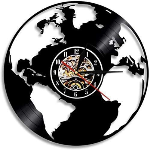 thetobea Carte du Monde Voyage autour du Monde disque vinyle horloge murale décor à la Maison Art Mural Cadeau fait à la Main - Sans Led