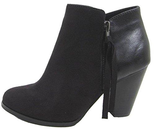 Soda Womens Keira Tassel Zip Heel Bootie Shoes Black 9