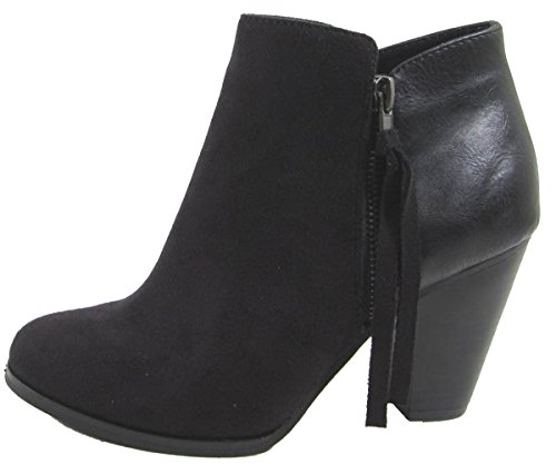 Soda Womens Keira Tassel Zip Heel Bootie Shoes Black 8.5