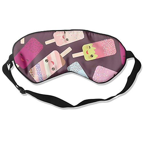 QQMIMIG Sleeping Eye Mask Summer Love Ice Cream Natural Silk Eye Mask Cover with Adjustable Strap