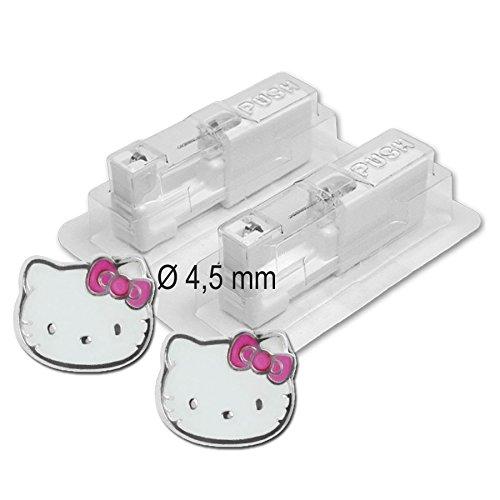 Studex - Pendientes médicos (1 par, diámetro de 4,5 mm), diseño de Hello Kitty