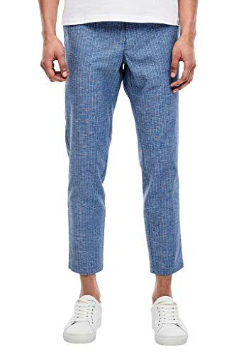 s.Oliver BLACK LABEL Herren Slim: Nadelstreifen-Hose aus Leinenmix Blue pin Stripes 44